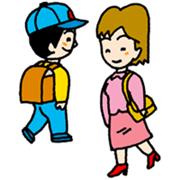 通勤中のおねえさんと通学中の小学生